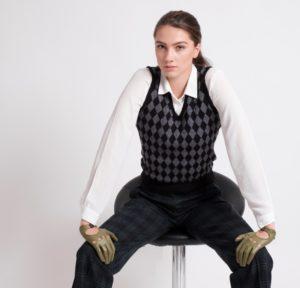 Trinity Check Knit Vest by The Vest Practice
