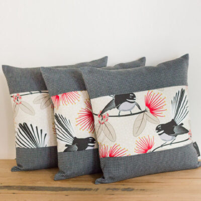 Cushion Covers – Set Of 3 – Cream Pīwakawaka – Fantail – Gili