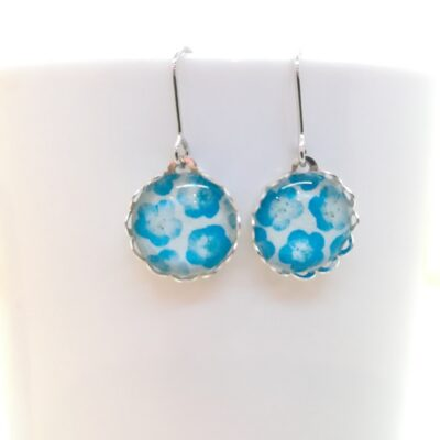 Round Glass Earrings _ Blue Flower In White
