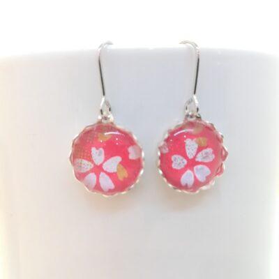 Round Glass Earrings _ Sakura Whiter Flower In Red