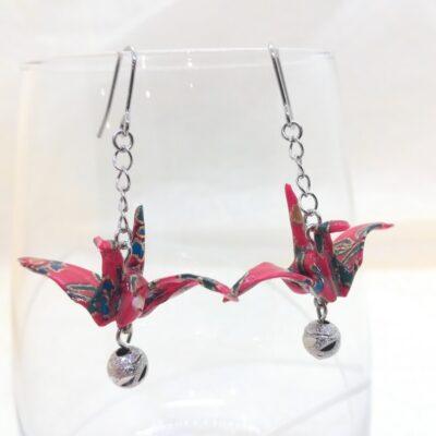Origami Paper Crane Earrings (Red_2)