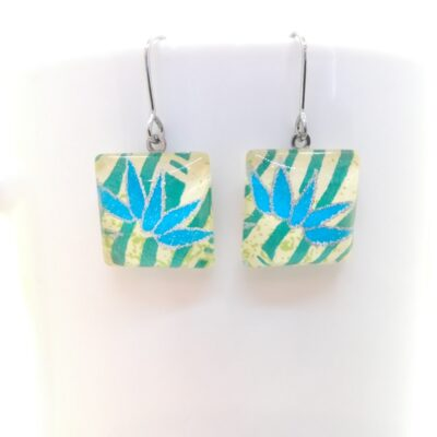 Square Glass Earrings _ Blue Bamboo In Yellow