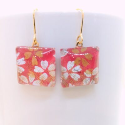 Square Glass Earrings _ Sakura White & Gold Flower In Red