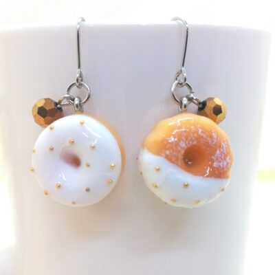 White Chocolate Donuts + Gold Sugar _ Sweets Earrings