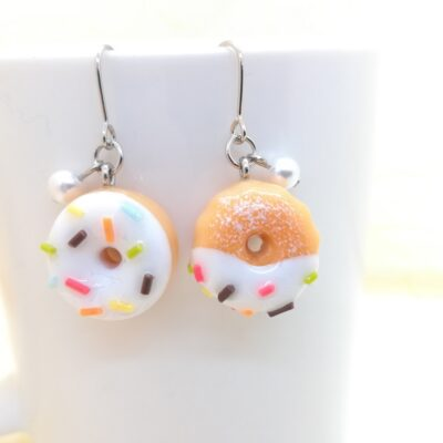 White Chocolate Donuts + Colour Spray _ Sweets Earrings