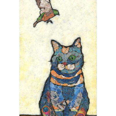 Affordable Mixed Media Cat Art Print