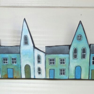 A Little House Print On Wood.
