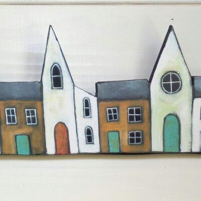 A Little House Print On Wood. (Tan)