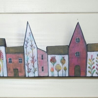 A Little House Print On Wood. (PInk)