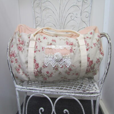 Pink Vintage Floral Over Night Bag