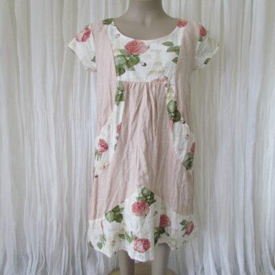 Pink Rose Linen Dress