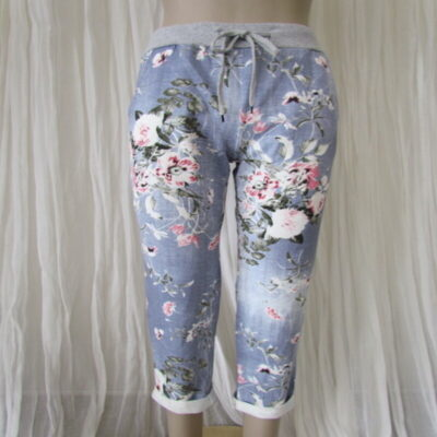 Light Blue Floral Rose Stretch Pants