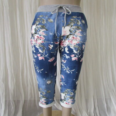 Dark Blue Floral Rose Stretch Pants
