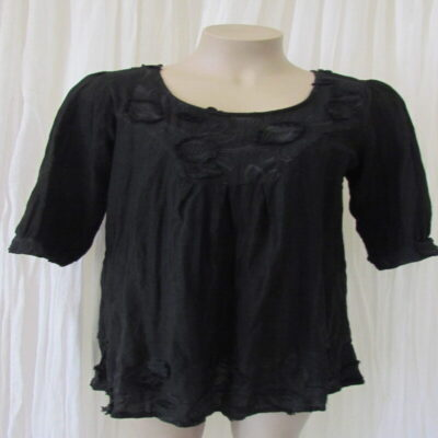 Black Linen Cotton Top