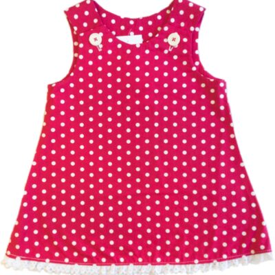 Girls Pinafore Dress – Pink With White Dots