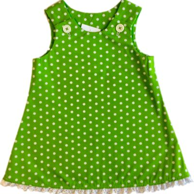 Girls Pinafore Dress – Green With White Dots