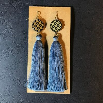 Long Tassel Earrings(traditional Gold And Black Dot Patterns + Greyish Blue Tassels)