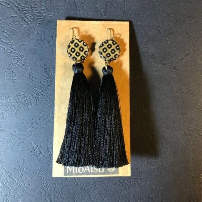 Long Tassel Earrings(traditional Gold And Black Dot Patterns + Black Tassels)