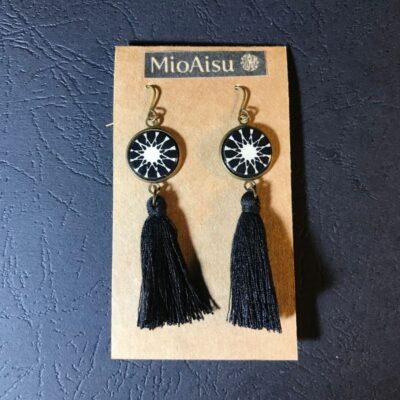 Short Tassel Earrings(black And White Mosaic Patterns + Black Tassels)