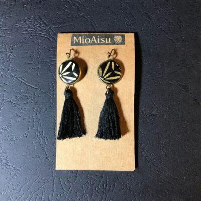 Short Tassel Earrings(black And Gold Flower Patterns + Black Tassels)
