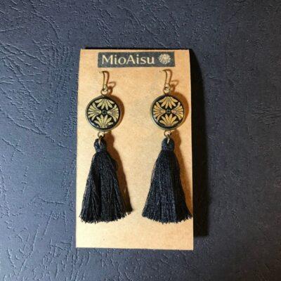 Short Tassel Earrings(black And Gold Patterns + Black Tassels)