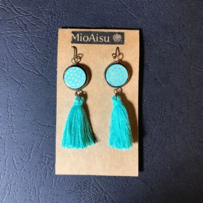 Short Tassel Earrings(turquoise And Gold Dots + Emerald Green Tassels)