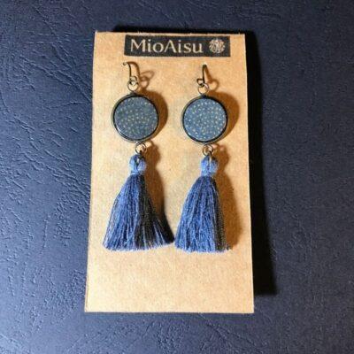 Short Tassel Earrings(grey And Gold Dots + Grey Tassels)