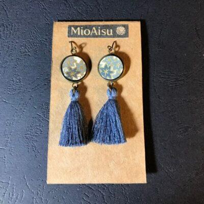 Short Tassel Earrings(grey Leaves + Grey Tassels)
