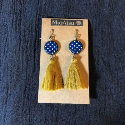 Short Tassel Earrings(navy And White Dots + Mustard Yellow Tassels)