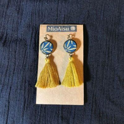 Short Tassel Earrings(navy And Gold Patterns + Mustard Yellow TasselsS