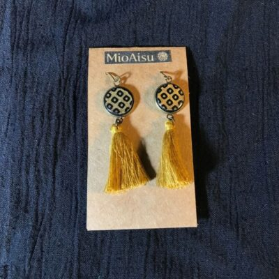 Short Tassel Earrings(traditional Gold And Dots Patterns + Mustard Yellow Tassels)