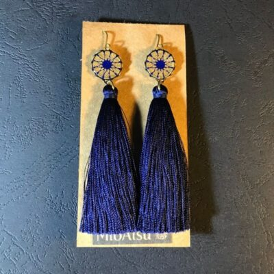 Long Tassel Earrings(navy Blue Mosaic Patterns + Navy Tassels)