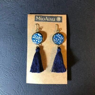 Short Tassel Earrings(navy And Silver Patterns + Navy Tassels)