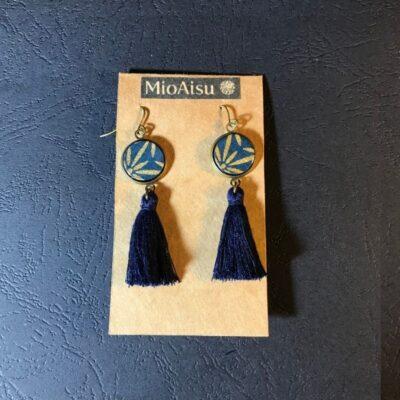 Short Tassel Earrings(navy And Gold Patterns + Navy Tassels)