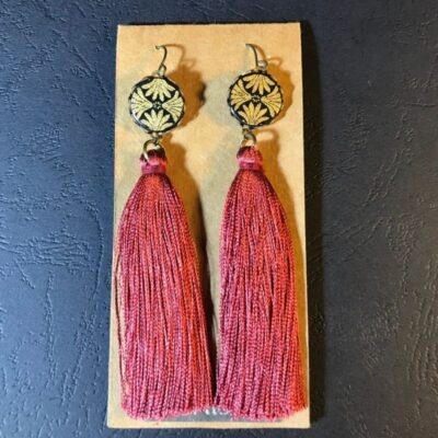 Long Tassel Earrings(gold And Black Patterns + Dark Red Tassels)
