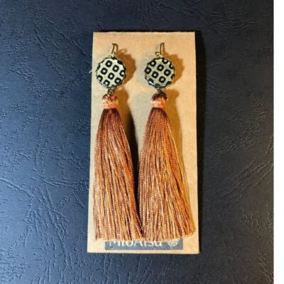 Long Tassel Earrings(traditional Gold And Dot Patterns + Rusty Orange Tassels)