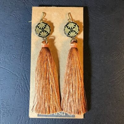Long Tassel Earrings(gold And Black Patterns + Rusty Orange Tassels)