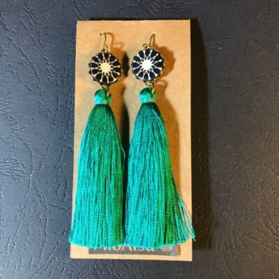 Long Tassel Earrings(black And White Mosaic Pattern + Teal Green Tassels)