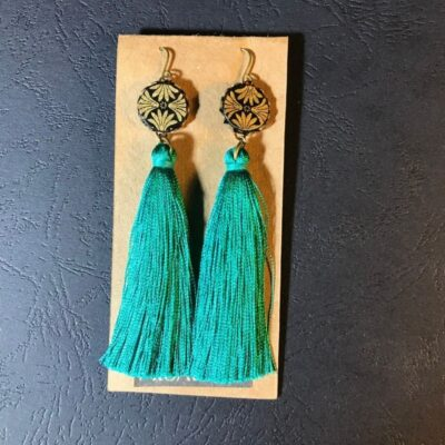 Long Tassel Earrings(gold And Black Patterns + Teal Green Tassels)