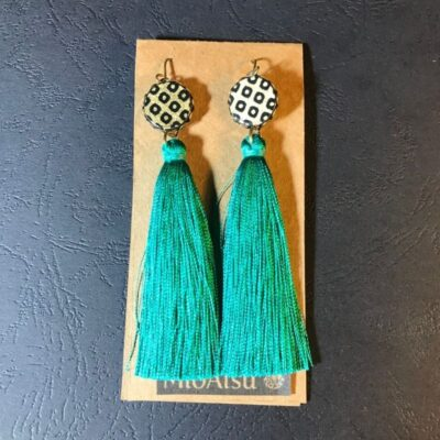 Long Tassel Earrings(traditional Black And Gold Dot Patterns + Teal Green Tassels)