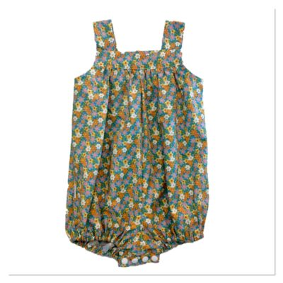 Baby Girls Romper – Teal With Small Flowers