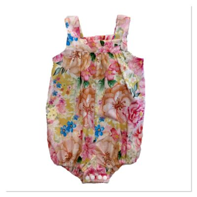 Baby Girls Romper – Mustard With Floral Pattern