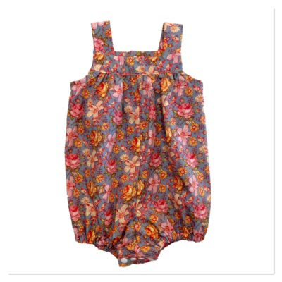 Baby Girls Romper – Blue With Floral Pattern