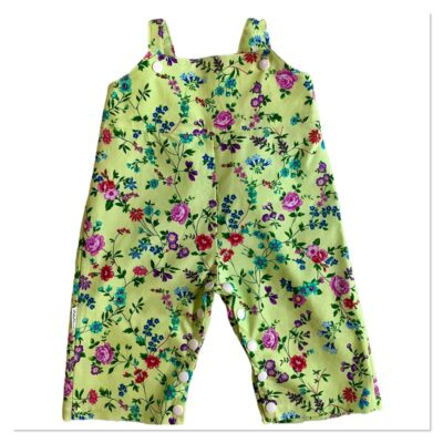 Unisex Romper Longs – Lime Green With Floral Pattern