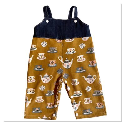 Unisex Romper Longs – Mustard With Teapots And Cups / Denim (Size 6 Mth Only) LAST ONE
